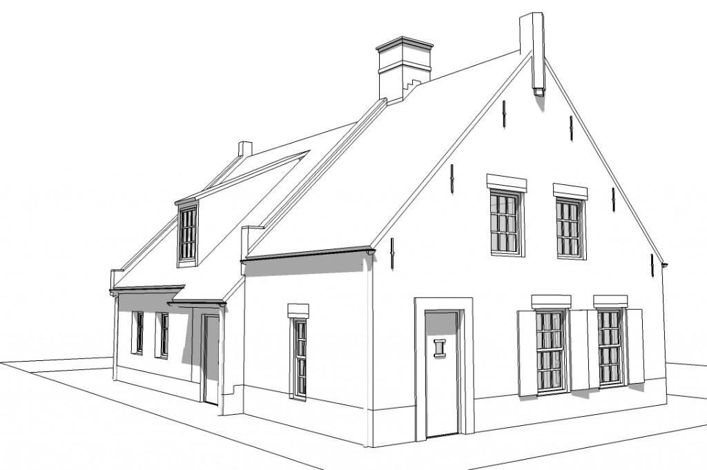 voorzijde woning lijnen zonder kleur